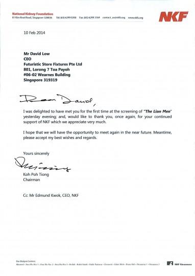Appreciation Letter from NKF
